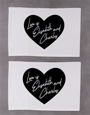 Personalised Heart Message Pillowcase Set