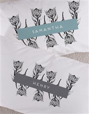 Personalised Scetch Protea Pillowcase Set