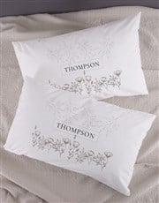 Personalised Scetch Floral Pillowcase Set