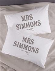 Personalised Retro Mr & Mrs Pillowcase Set