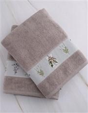 Personalised Green Leaves Stone Towel Set