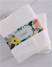 Personalised Bright Floral White Towel Set