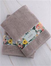 Personalised Bright Floral Stone Towel Set