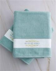 Personalised Mnr & Mev Duck Egg Towel Set