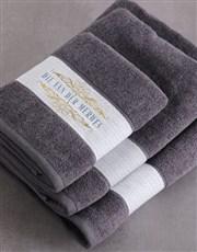 Personalised Mnr & Mev Charcoal Towel Set