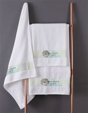 Personalised Watercolour White Towel Set