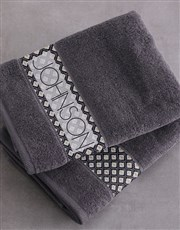 Personalised Ethnic Glam Charcoal Towel Set