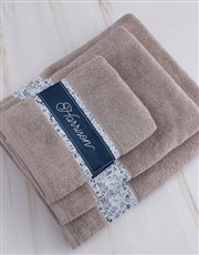 Personalised Blue Print Stone Towel Set