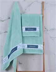 Personalised Blue Print Duck Egg Towel Set