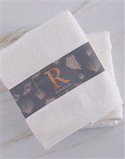 Personalised Glam Coastal White Towel Set