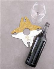 Personalised Grey & Gold Couples Wine Glass & Bott