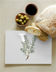 Personalised Floral Monogram Glass Chopping Board