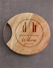 Personalised Initials Round Chopping Board