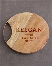 Personalised Head Chef Round Chopping Board