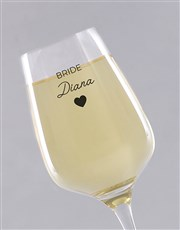 Personalised Bride Wine Glass Single