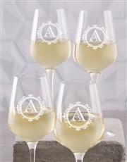 Personalised Monogram Wine Glass Set of 4