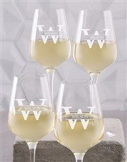 Personalised Surname Wine Gass Set of 4