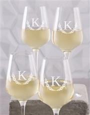 Personalised Wreath Monogram Wine Gass Set of 4