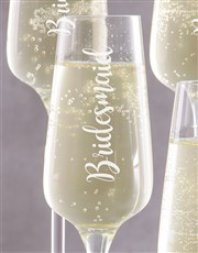 Personalised Bridesmaids Champagne Glass Set