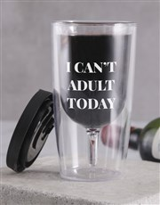 Personalised Can't Adult Travel Wine Glass