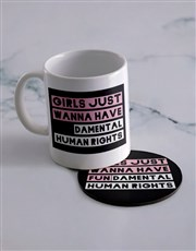 Personalised Fundamental Rights Mug & Coaster Set