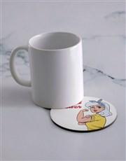 Personalised Strong Women Mug & Coaster Set