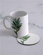 Personalised Floral Mug  & Coaster Set