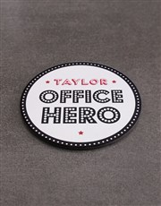 Personalised Office Hero Mug  & Coaster Set