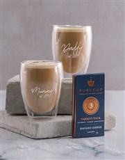 Personalised Mummy And Daddy Double Wall Mug Set