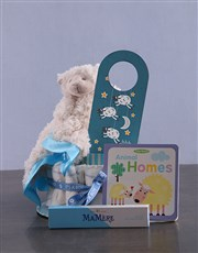 Personalised Lamb Baby and Mommy Nappy Cake Blue