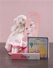 Personalised Lamb Baby and Mommy Nappy Cake Pink