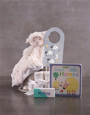Personalised Lamb Baby and Mommy Nappy Cake Grey