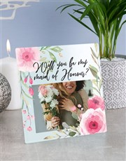 Personalised Floral Maid of Honour Glass Tile