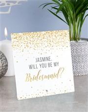 Personalised Bridesmaid Glass Tile