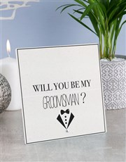 Personalised Best Man Glass Tile