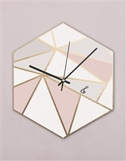 Personalised Pastels Hexagon Clock