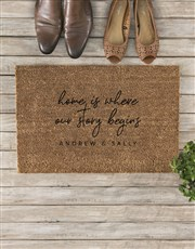 Personalised Where Our Story Begins Doormat