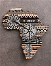 Personalised Black and White Africa Clock