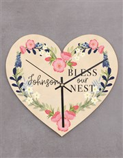 Personalised Bless Our Nest Heart Clock