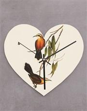 Personalised Floral Bird Heart Clock