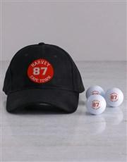 Personalised Retro Badge Golf Balls and Cap