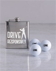 Personalised Golf Balls and Drive Hipflask