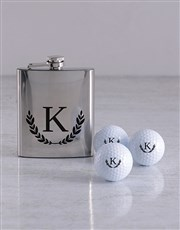 Personalised Wreath Golf Balls and Hipflask