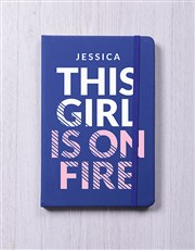 Personalised Girl On Fire Notebook