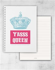 Personalised Yasss Queen Ring Bound Notebook