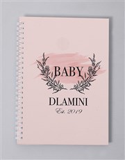 Personalised Pink Floral Wreath Baby Journal