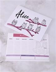 Personalised Cute Owl Desk Stationery Set