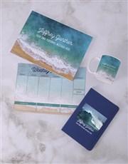 Personalised Blue Waves Desk Stationery Set