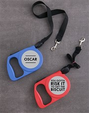 Personalised Risk It Retractable Dog Leash