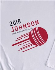 Personalised Surname Cricket Long Sleeve T Shirt